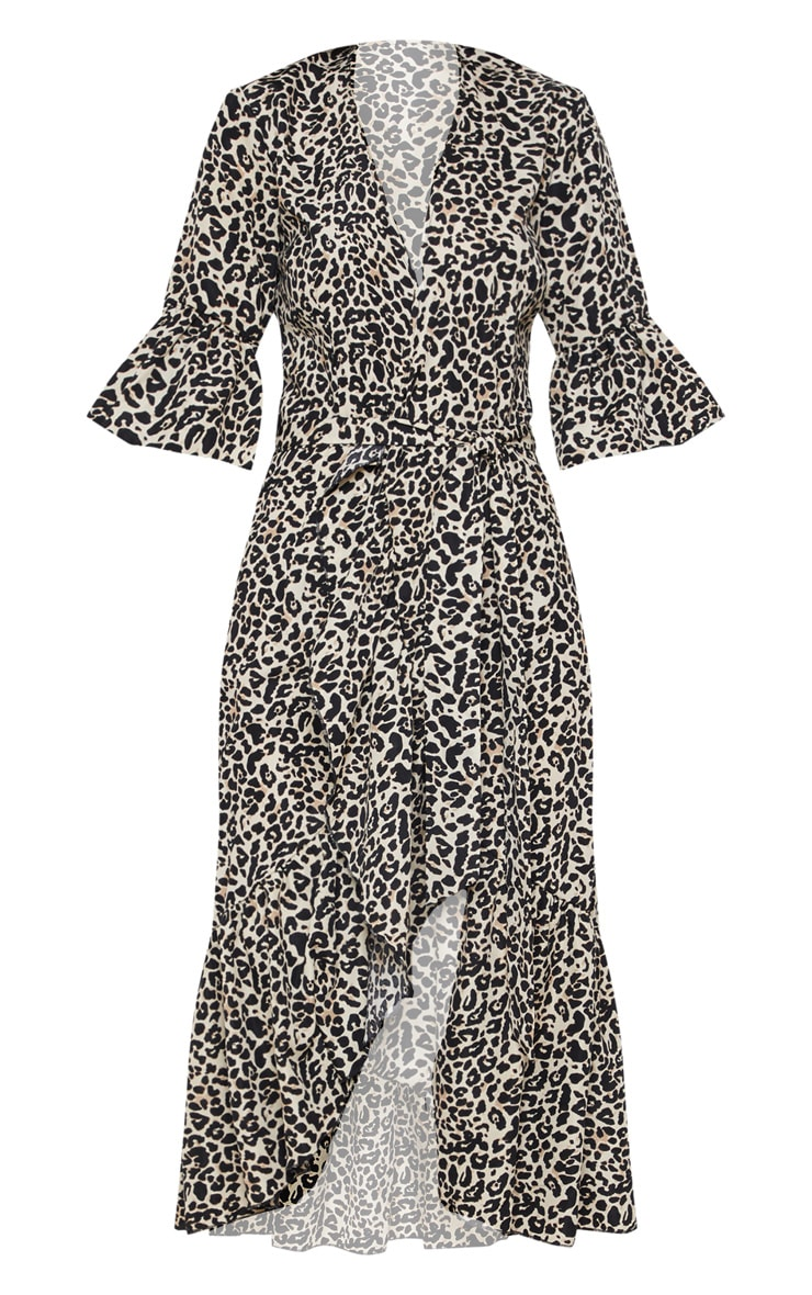 Beige Leopard Print Frill Hem Midi Tea Dress 3