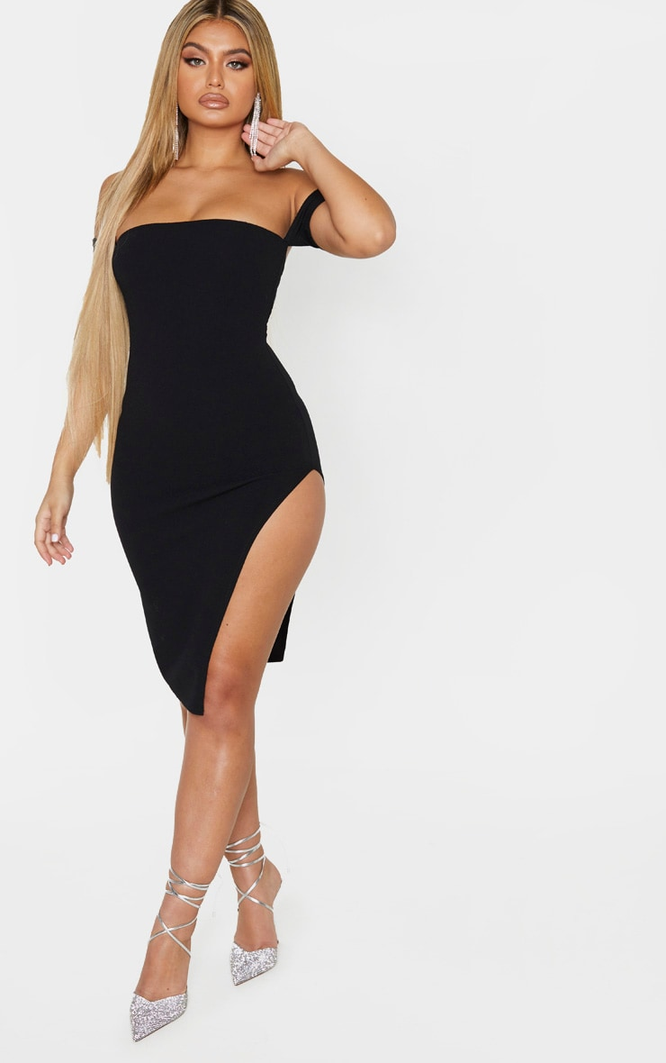 Black Cuff Detail Side Split Midi Dress 1