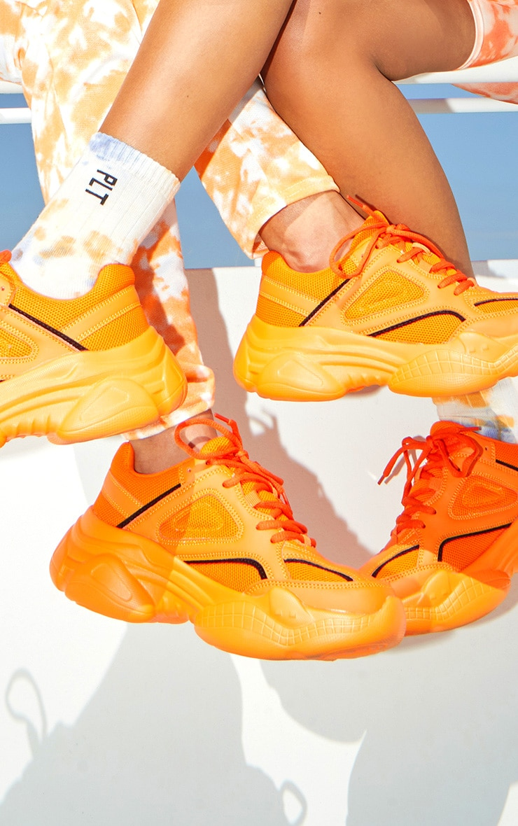 Orange Reflective Panel Arch Sole Chunky Trainers 2