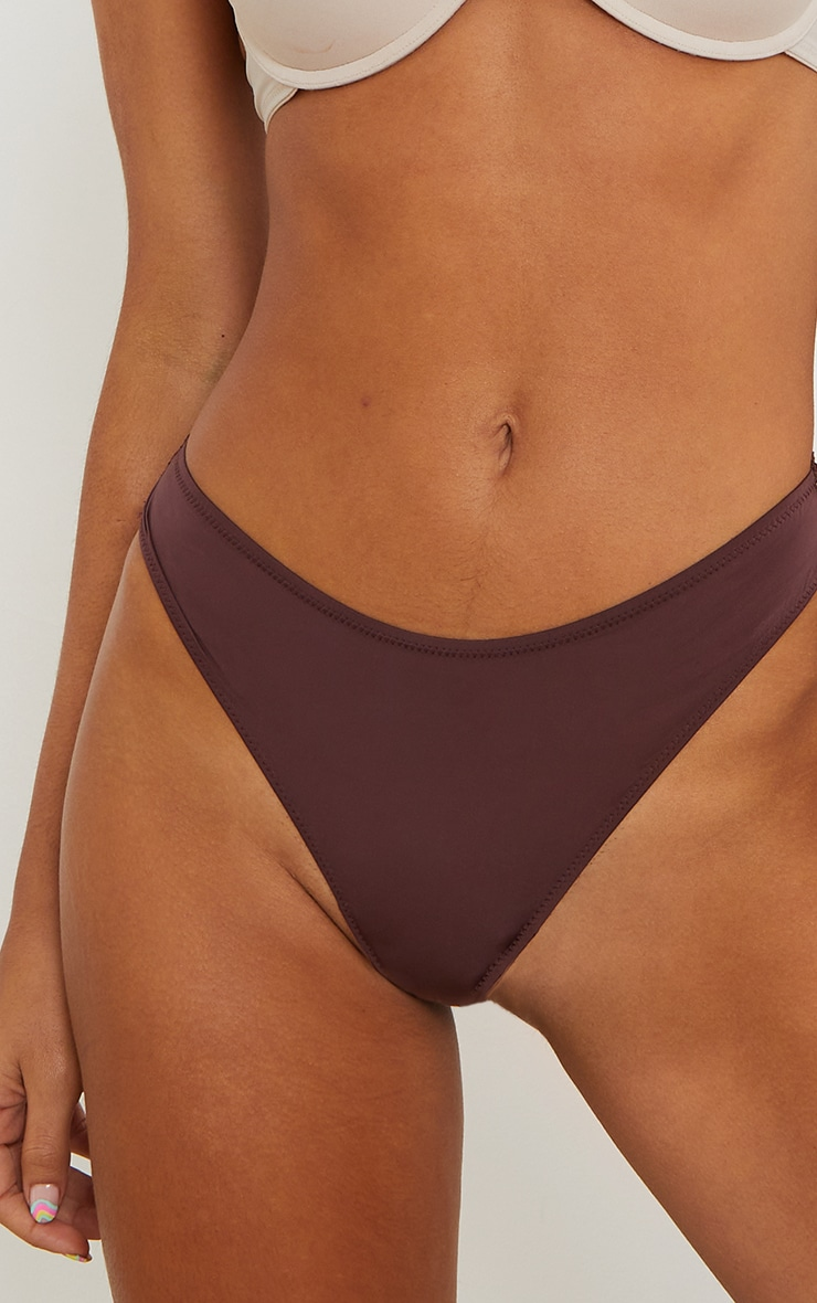 Brown Microfibre Lace Back Brazilian Knicker 3 Pack 4