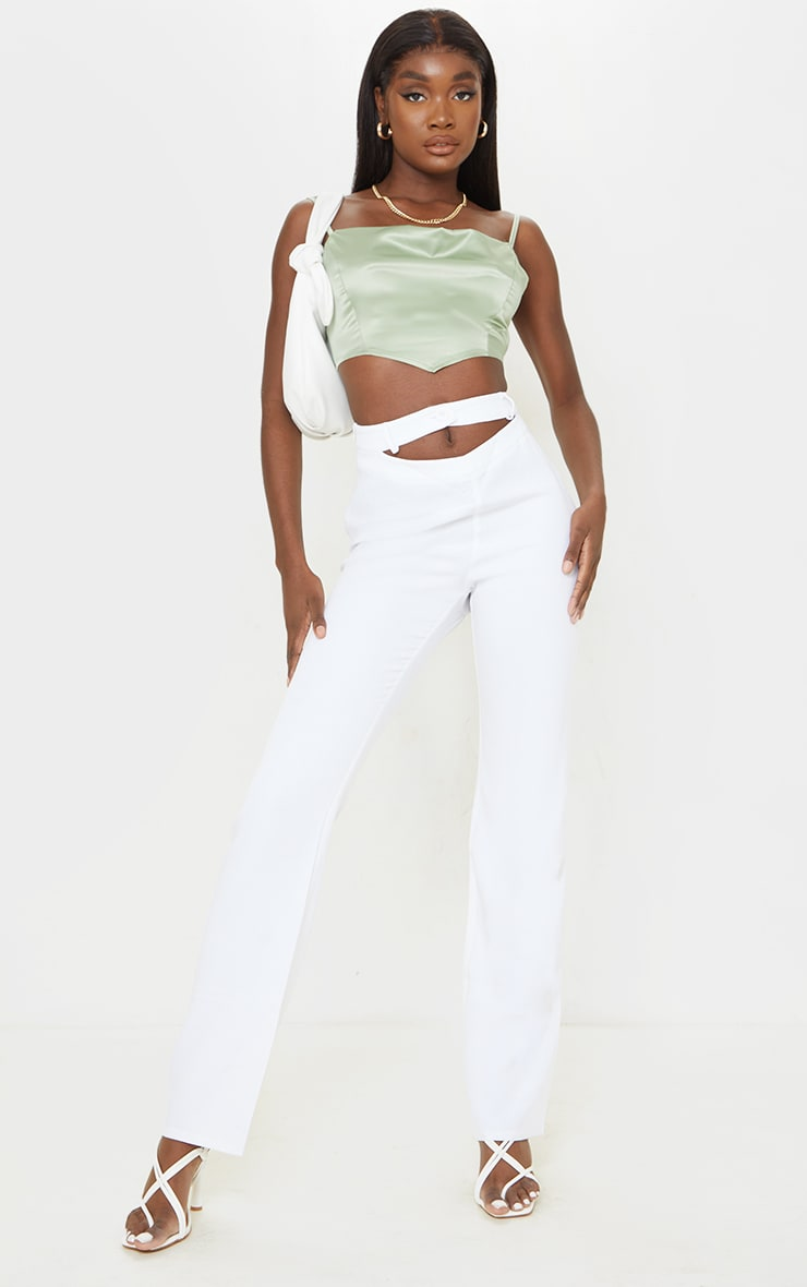 Tall White Cut Out Waistband Pants 1