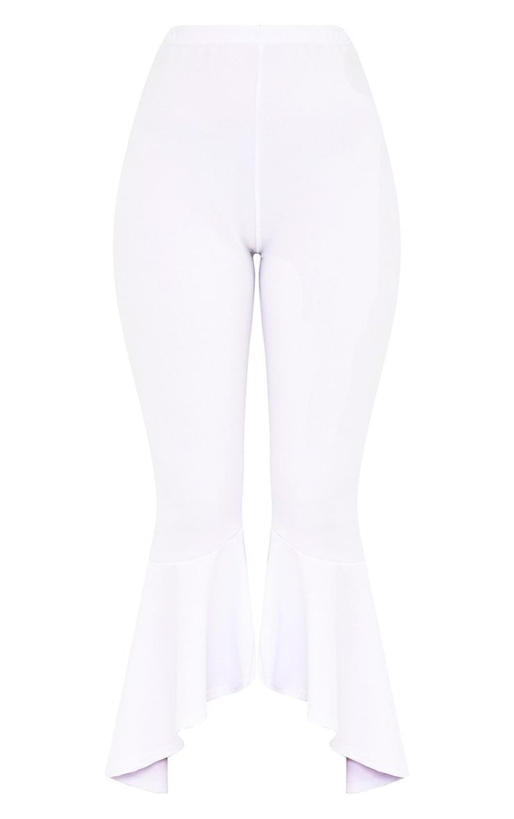 Lourdes White Asymmetric Flare Hem Trousers 3