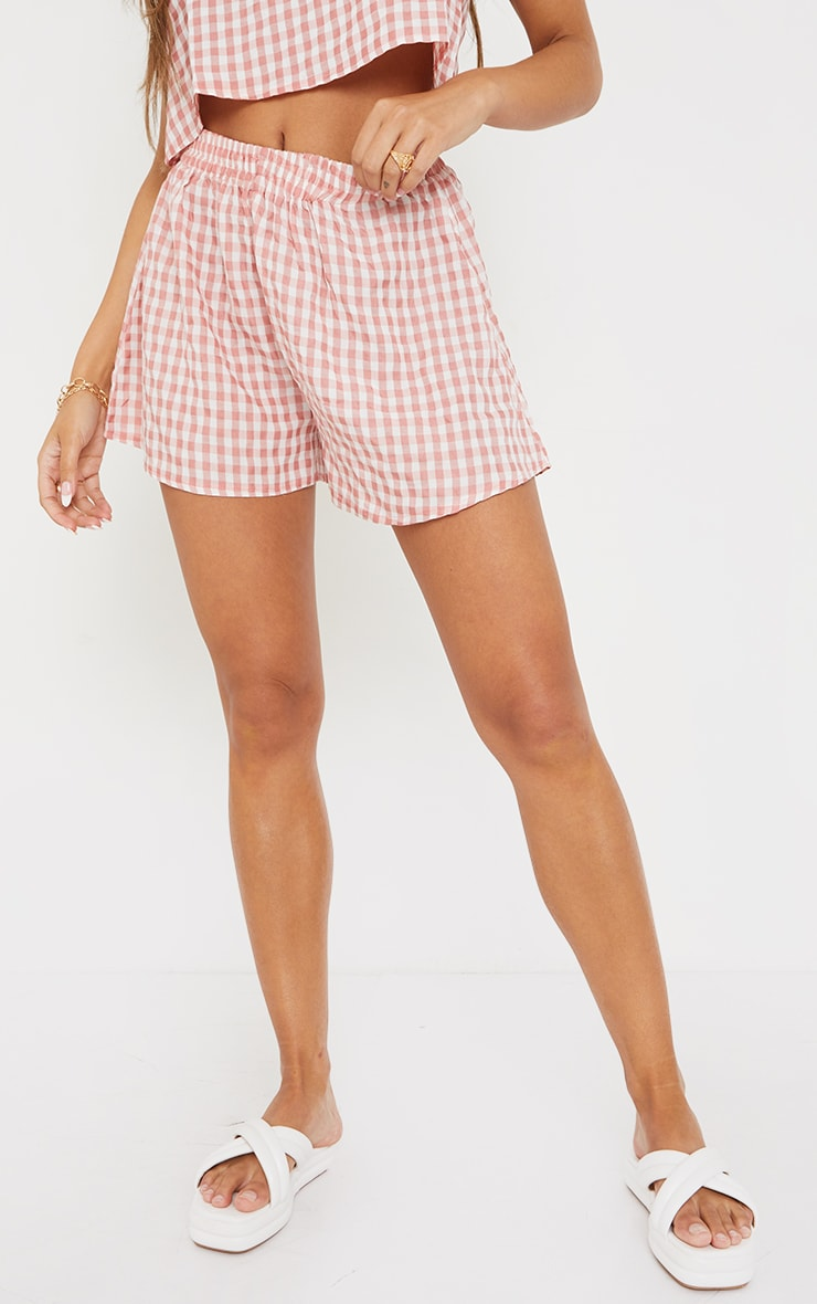 Pink Gingham Printed Woven Floaty Shorts 2