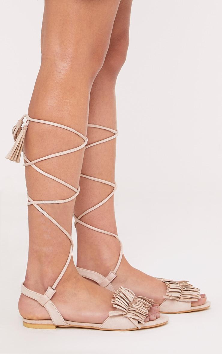 Alis Stone Tassel Lace Up Flat Sandals 3