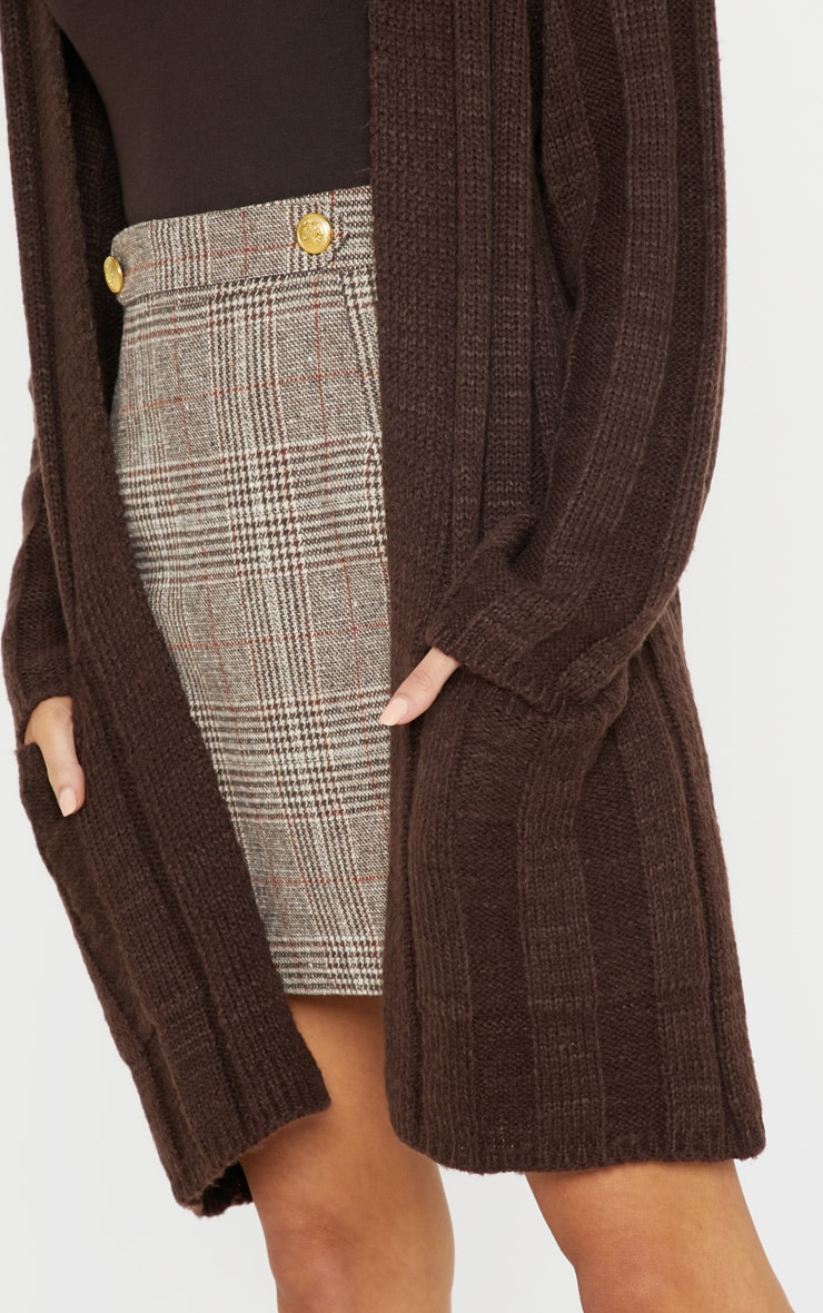 Chocolate Chunky Ribbed Laguna Knit Cardigan  5