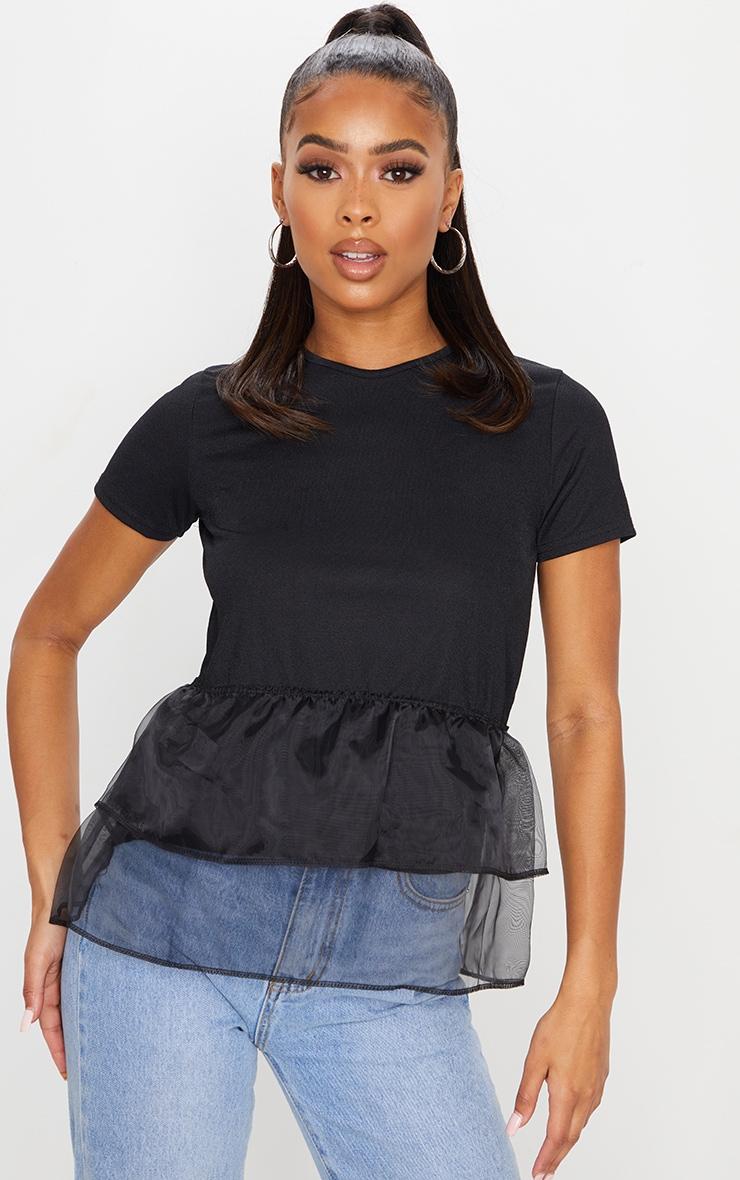 Black Organza Frill T Shirt 1