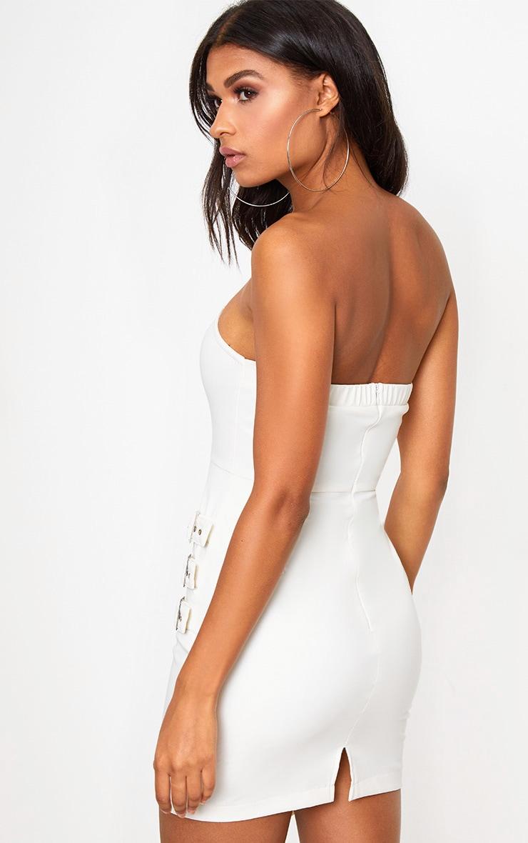 White Faux Leather Buckle Detail Bandeau Bodycon Dress 2