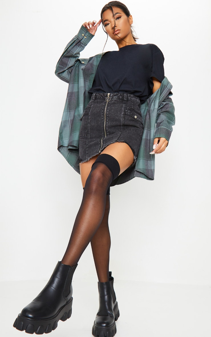 Washed Black Zip Through Double Pocket Denim Skirt 1