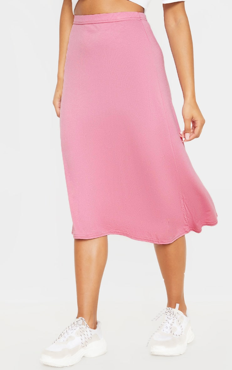 Dusty Pink Basic Jersey Floaty Midi Skirt 2