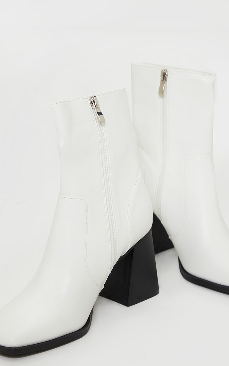 White Square Toe Flare Block Heel Ankle Boot 4