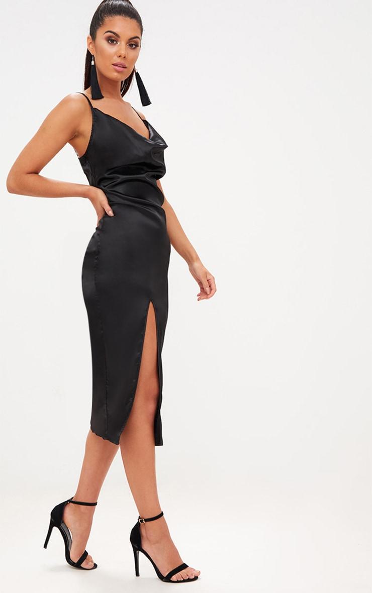Black Strappy Satin Cowl Neck Midi Dress 4