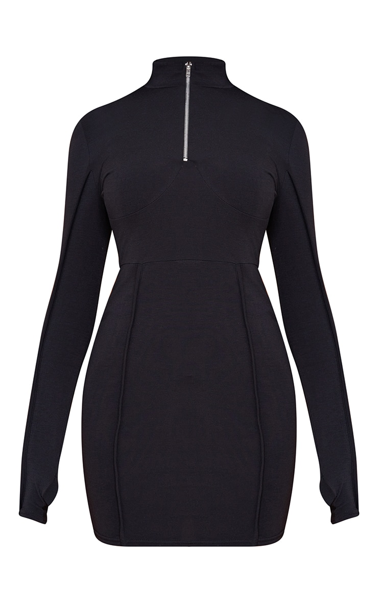 Recycled Black Underbust Detail Zip Up High Neck Bodycon Dress 5