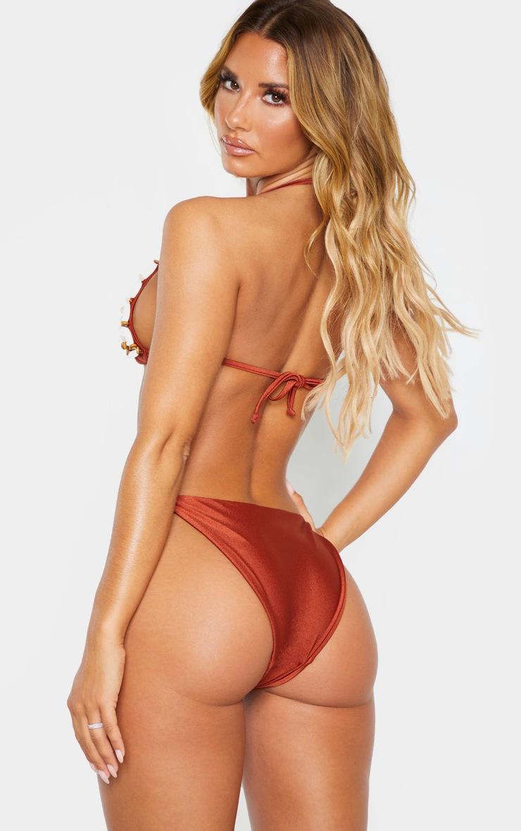 Brown Shell Beaded Bikini Top 2