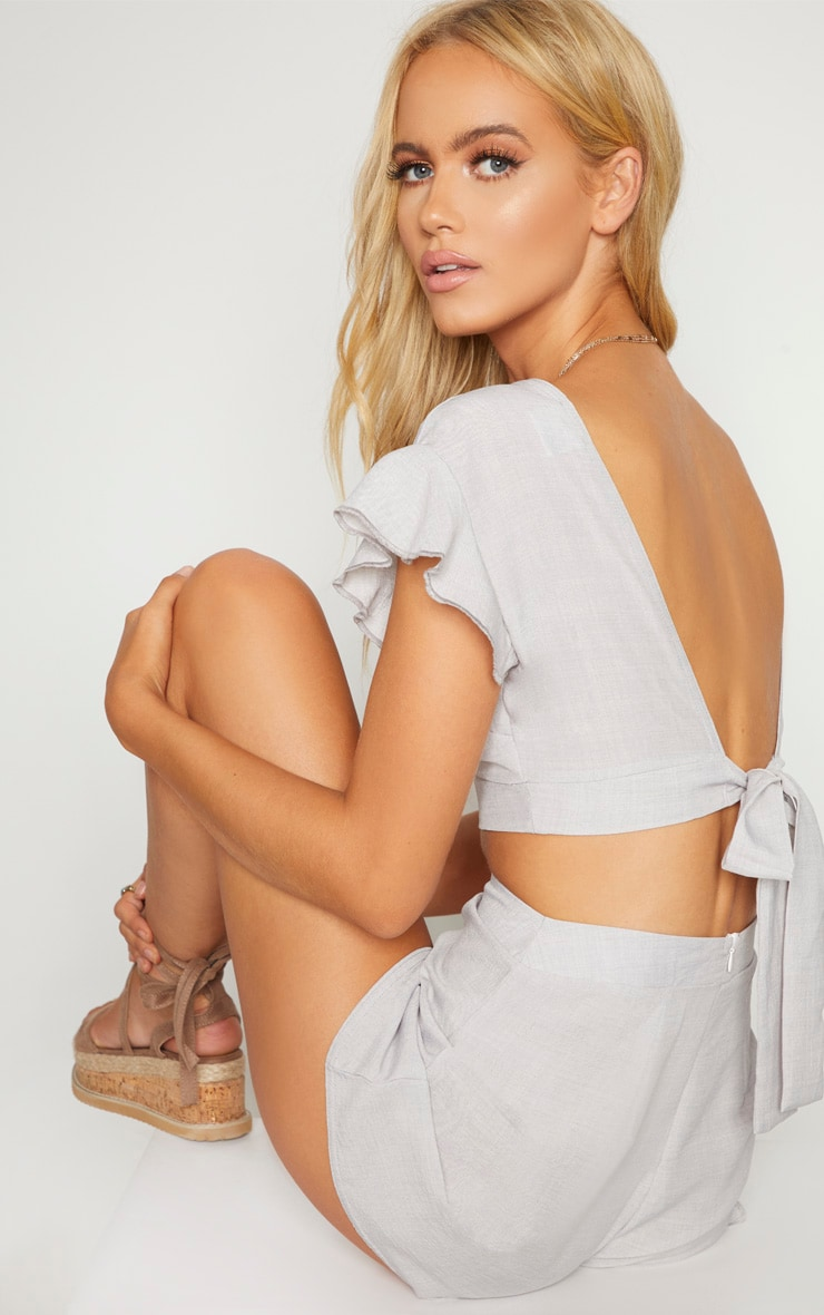 Grey Plunge Frill Sleeve Crop Blouse 2