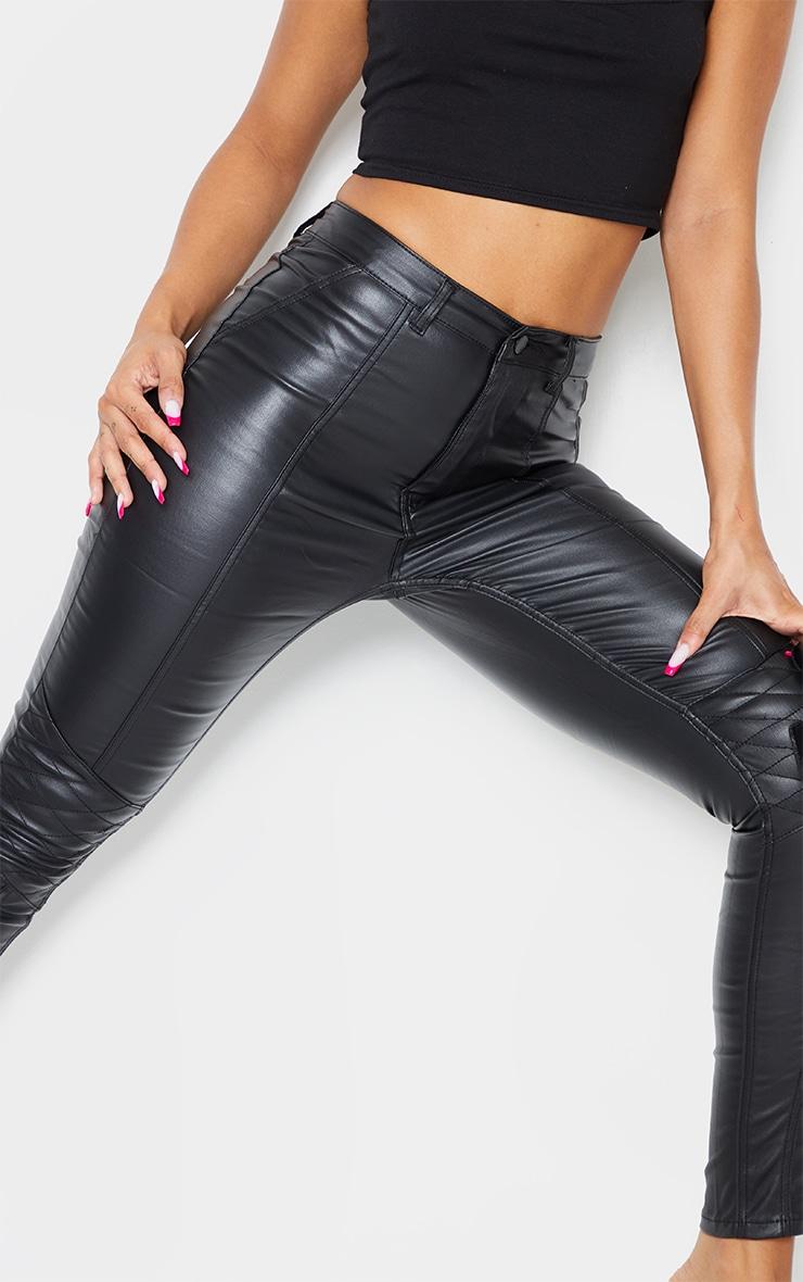 Black Biker Coated Skinny Jeans 4