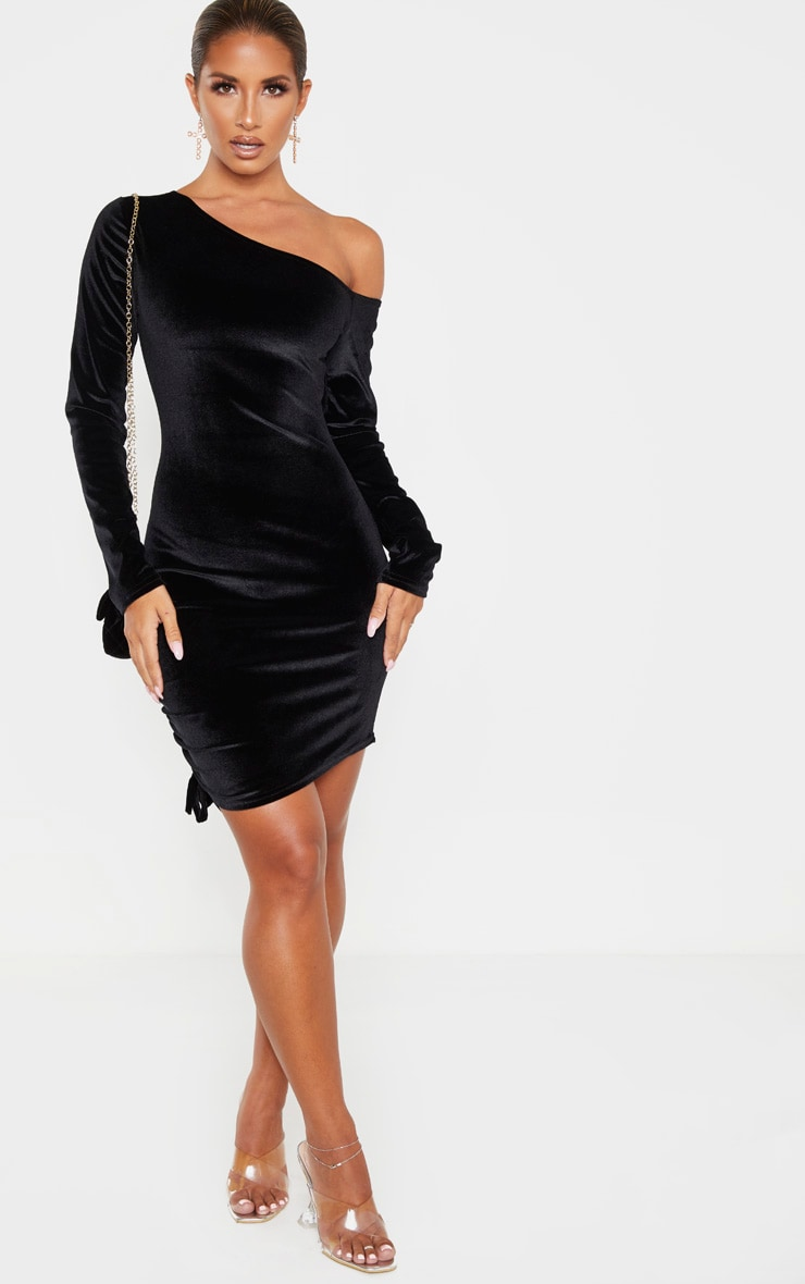 Black Ruched Velvet  Long Sleeve Bodycon Dress 4
