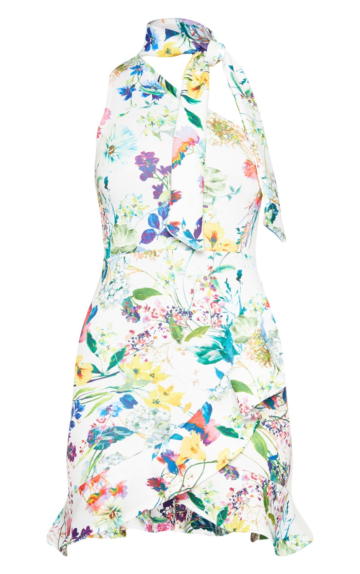 White Floral Tie Neck One Shoulder Frill Hem Bodycon Dress 3