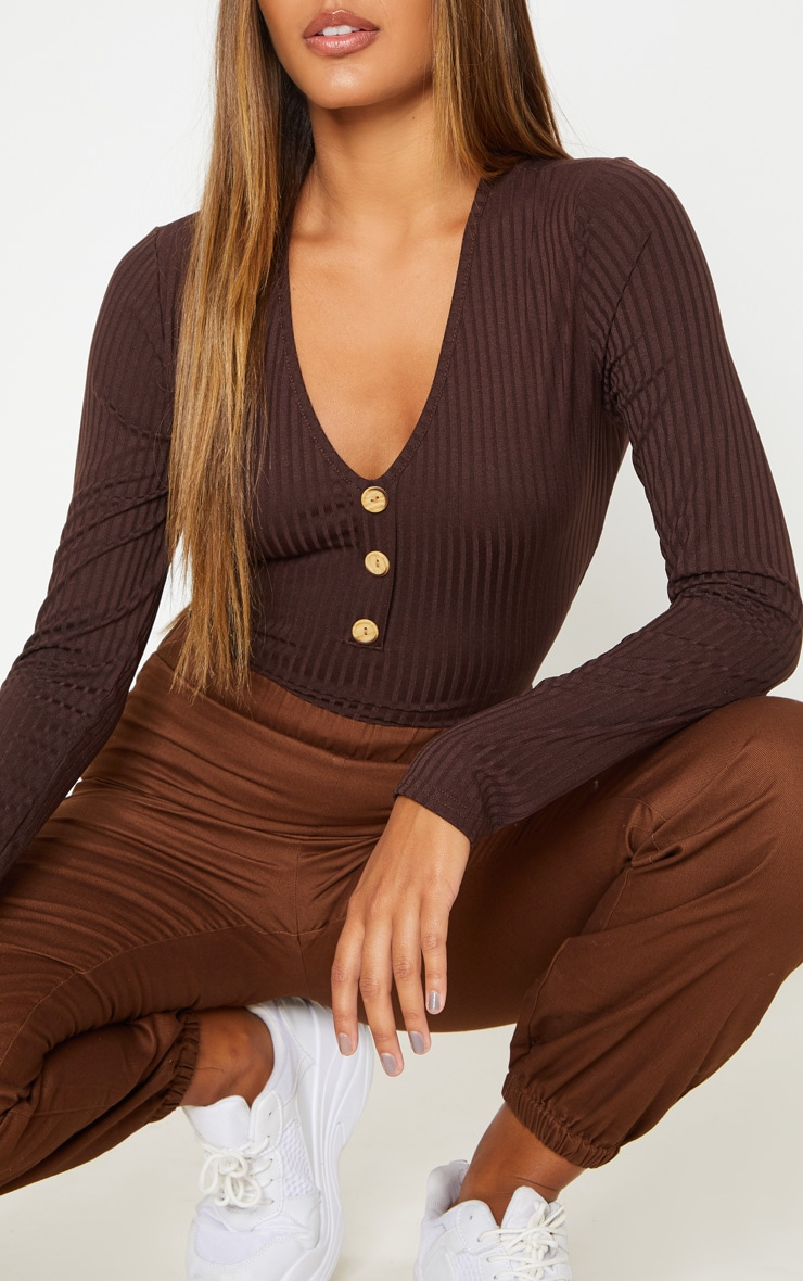 Chocolate Long Sleeve Button Rib Bodysuit 6
