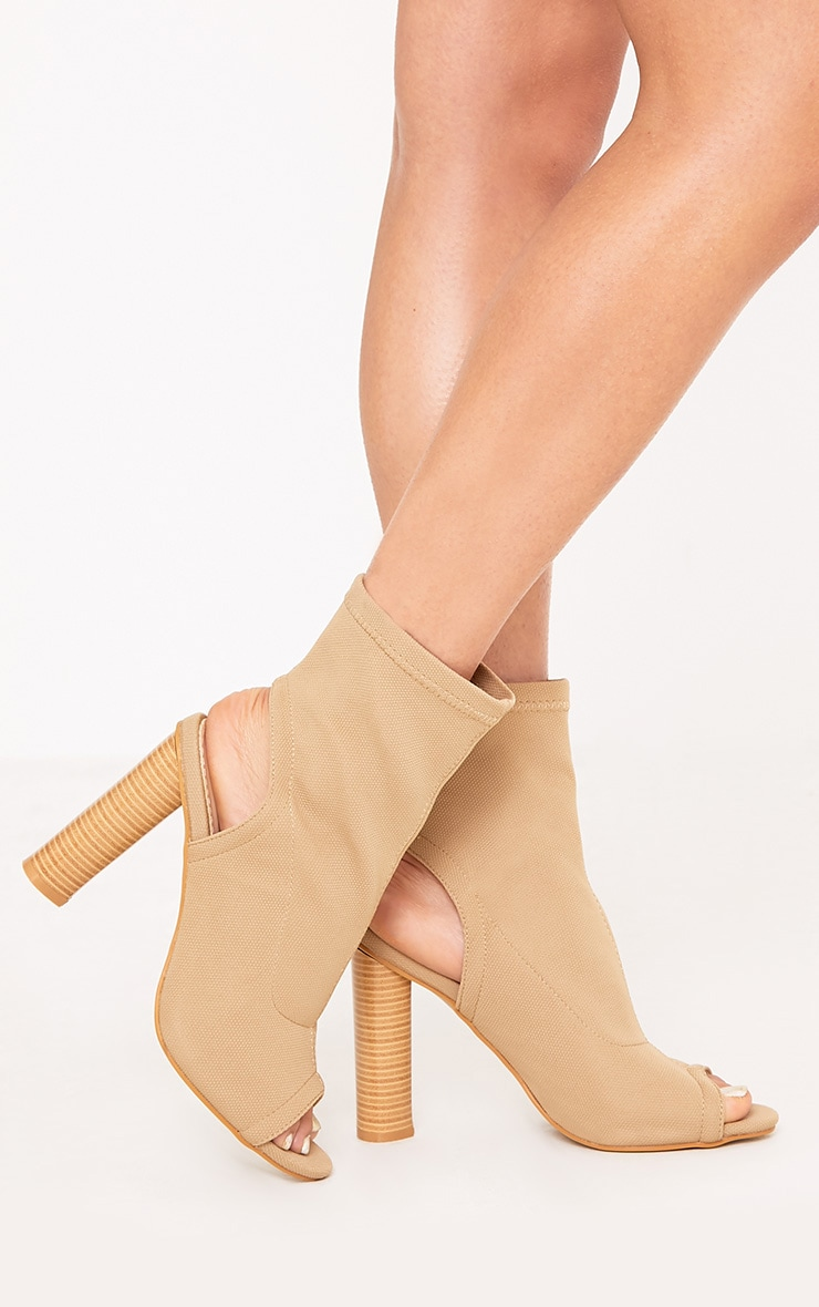 Cassidy Nude Knitted Cut Out Heels 1
