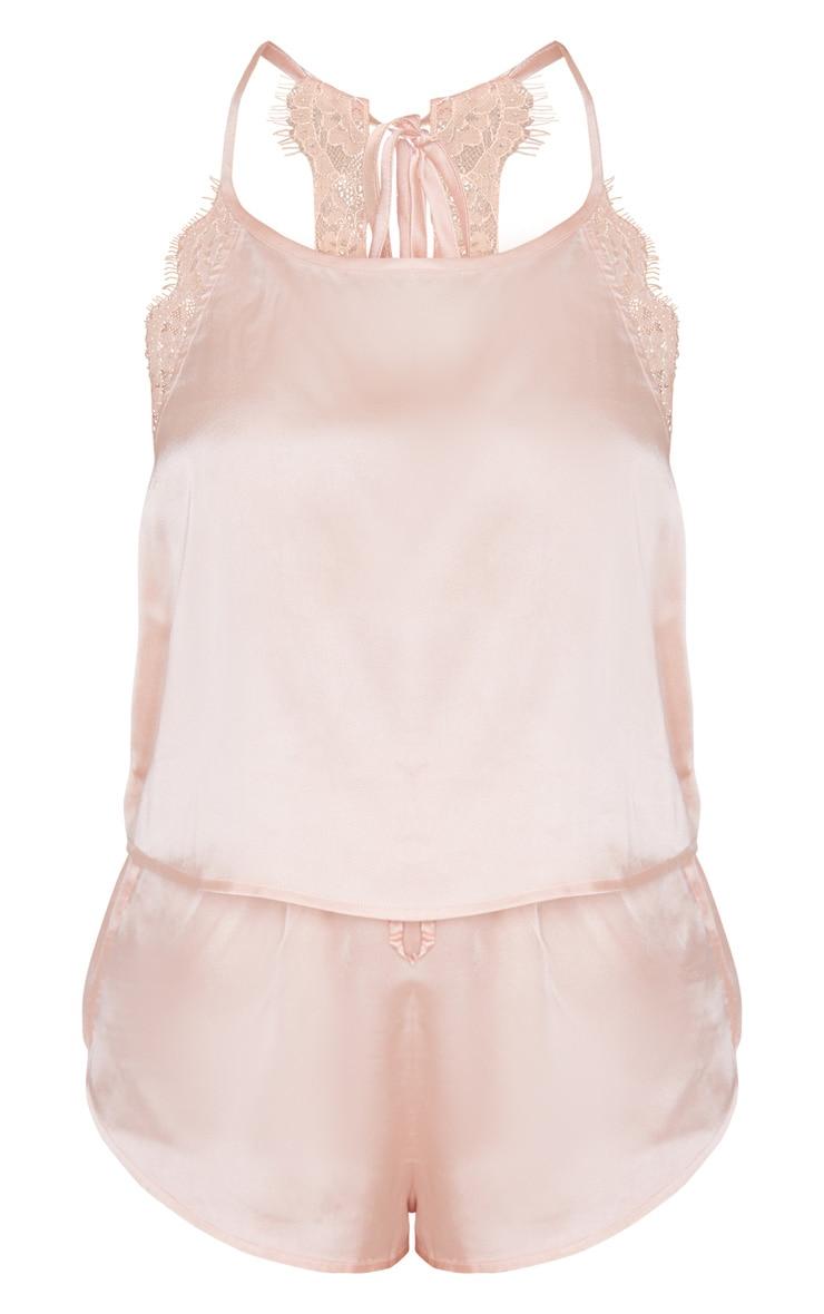 Pink Lace Back Cami Satin PJ Set 4