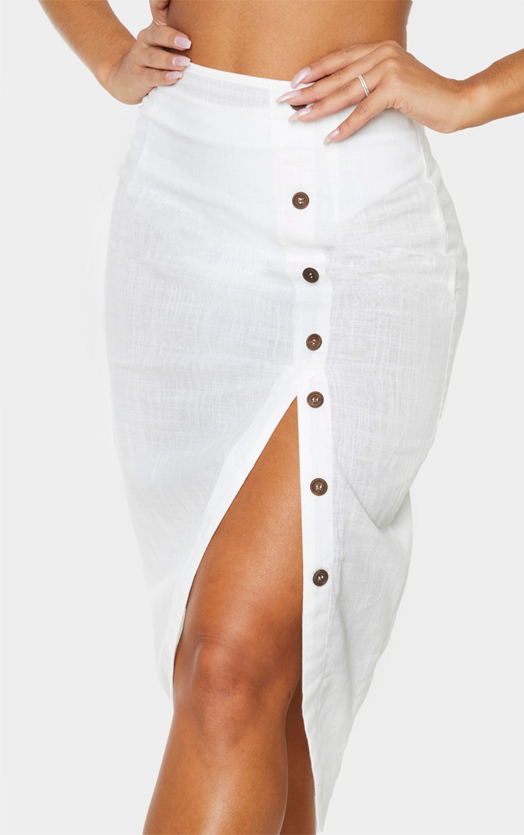 White Button Down Beach Skirt 5