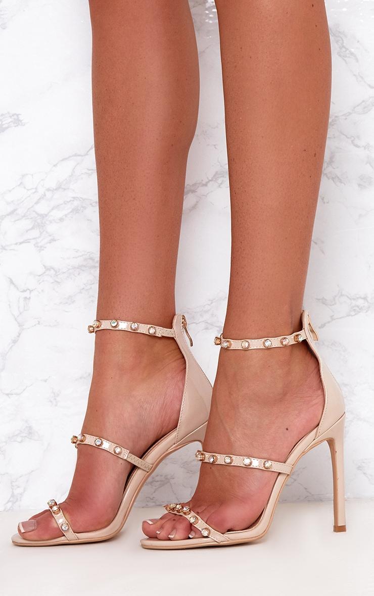 Nude Diamante Three Strap Heels 2