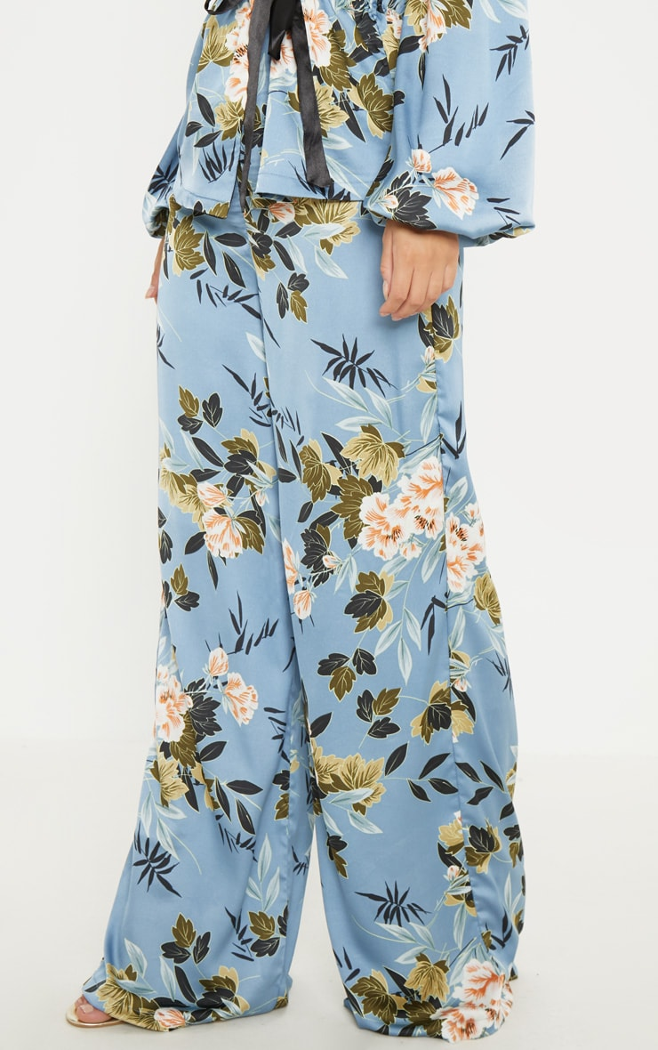 Blue Satin Floral Print Wide Leg Trouser 2