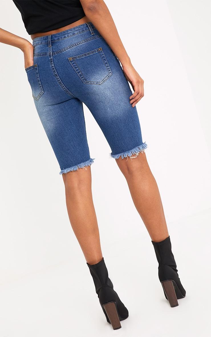 Keena Mid Wash Super Distress 3/4  Skinny Fit Short 4