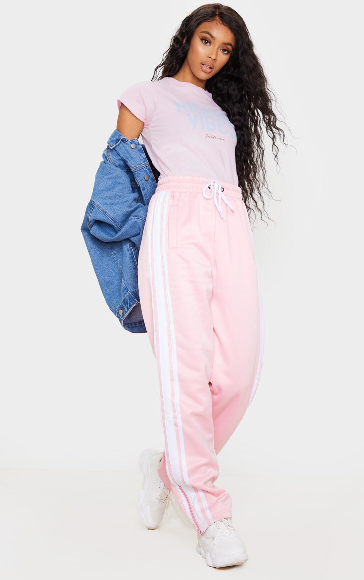 Baby Pink Higher Vibes Printed T Shirt 3