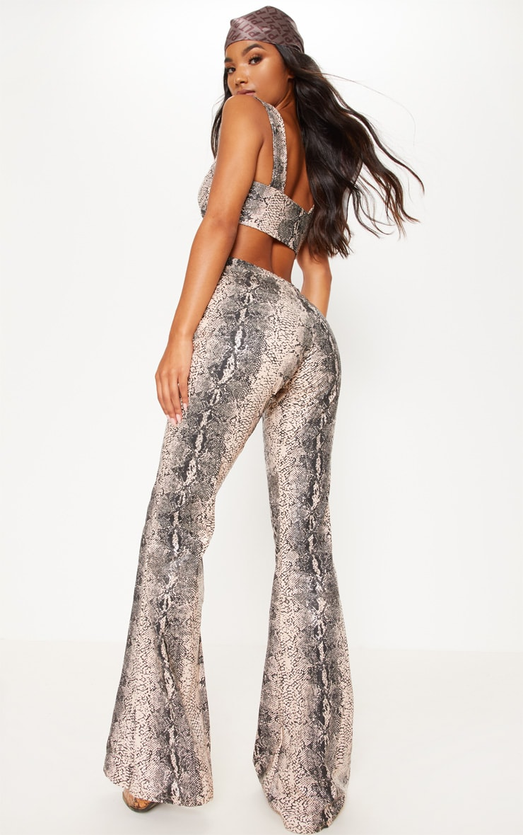 Grey Snake Faux Leather Flared Trouser 6