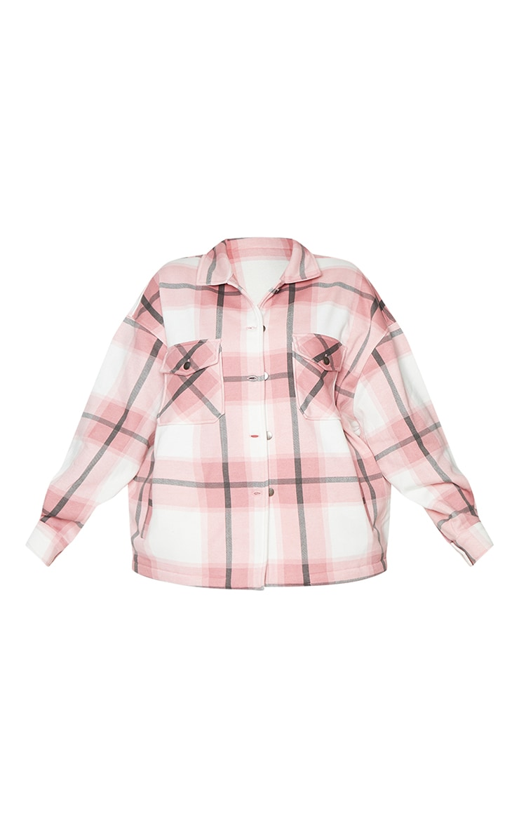 Plus Pink Checked Pocket Front Shacket 5