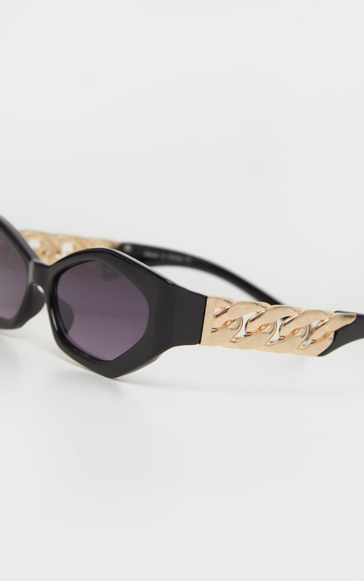 Black Chunky Chain Relaxed Hexagon Sunglasses   5