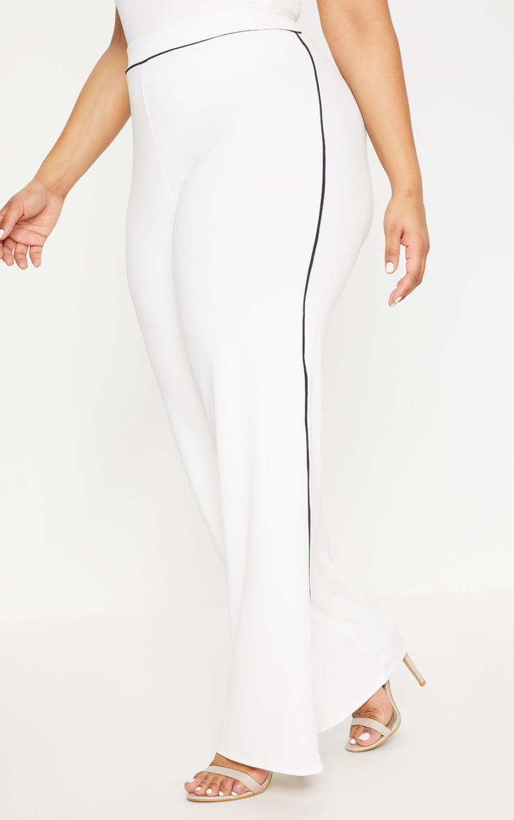 Plus White Contrast Seam Detail Wide Leg Trousers 2