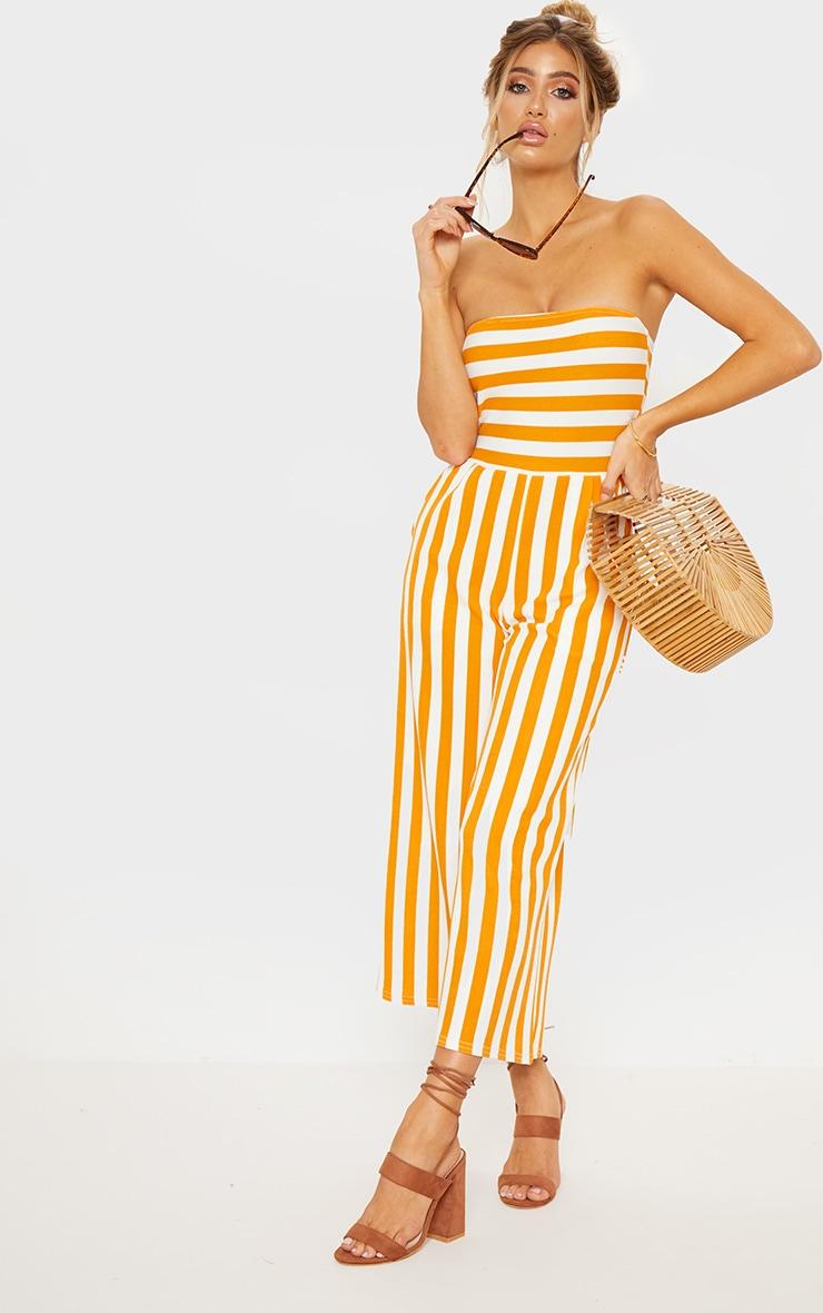Mustard Contrast Stripe Bandeau Culotte Jumpsuit image 4