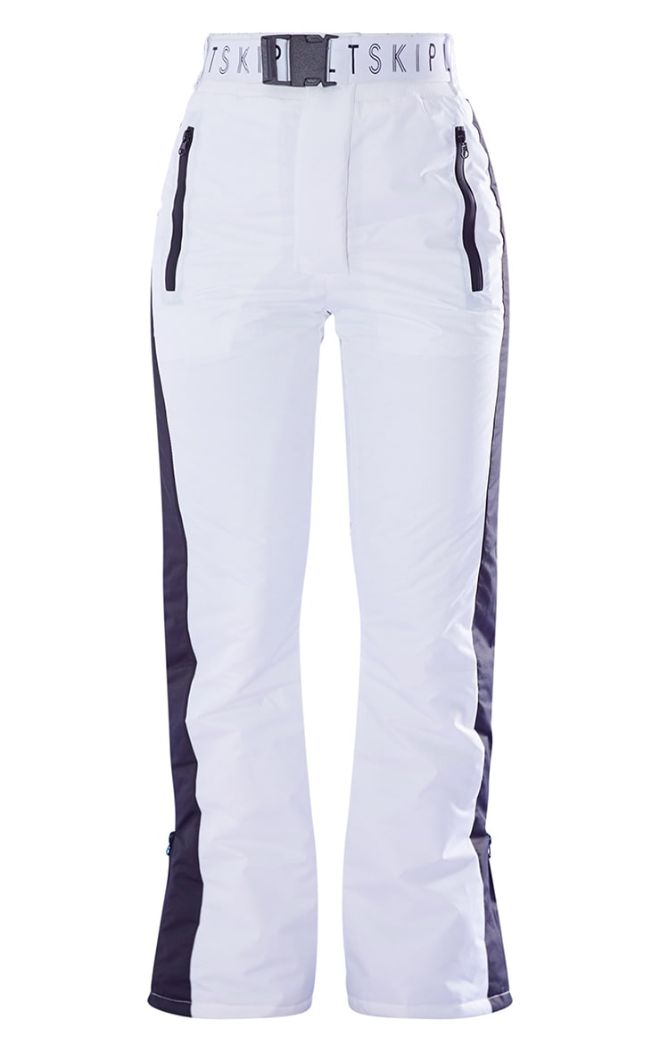 PRETTYLITTLETHING Ski White And Black Fit And Flare Ski Pants 5