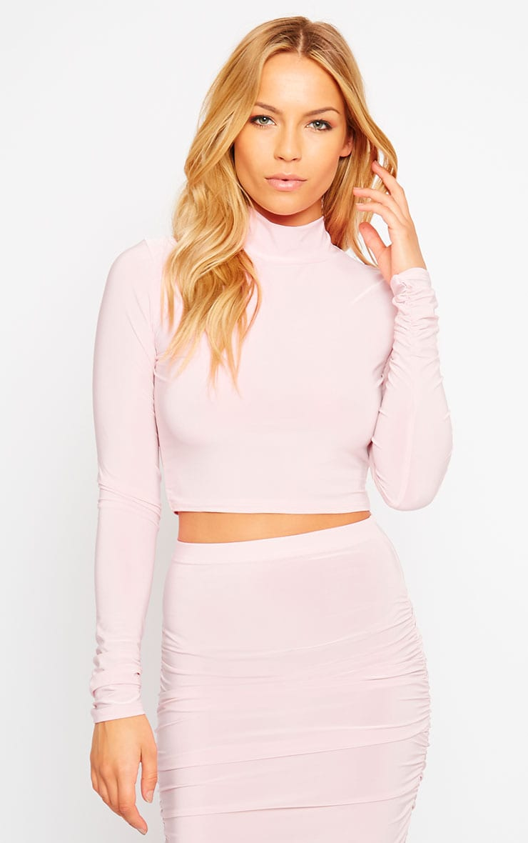 Saylor Baby Pink Slinky Turtle Neck Crop Top 1