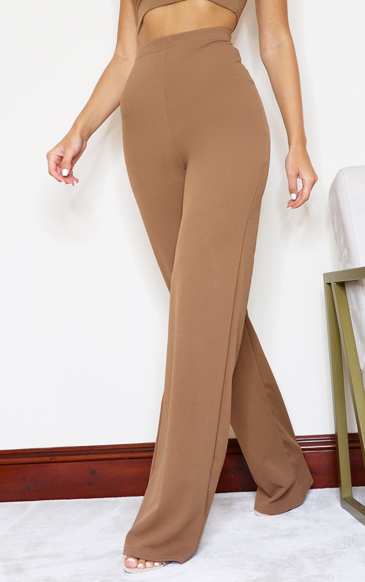 Camel Crepe High Waisted Wide Leg Trousers 2