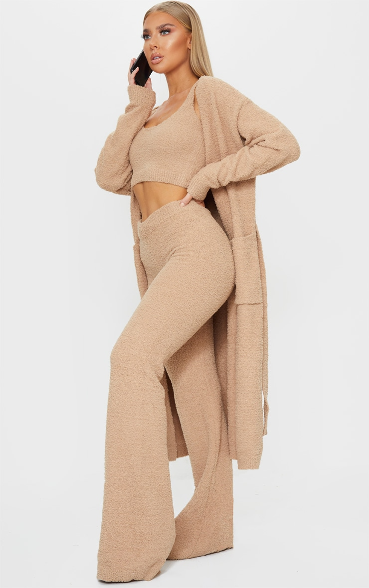 Taupe Chenille Longline Belted Pocket Detail Cardigan 3