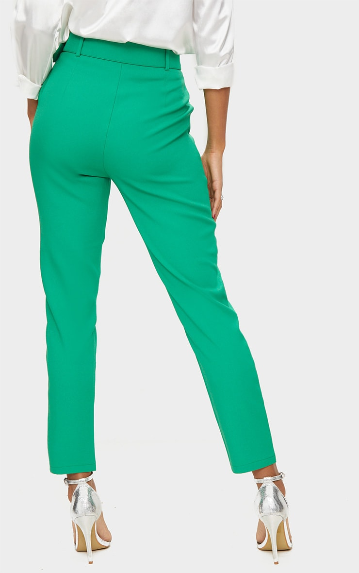 Bright Green Belted Tailored Trousers 4