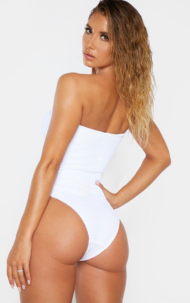 White Crinkle Strapless Swimsuit 2