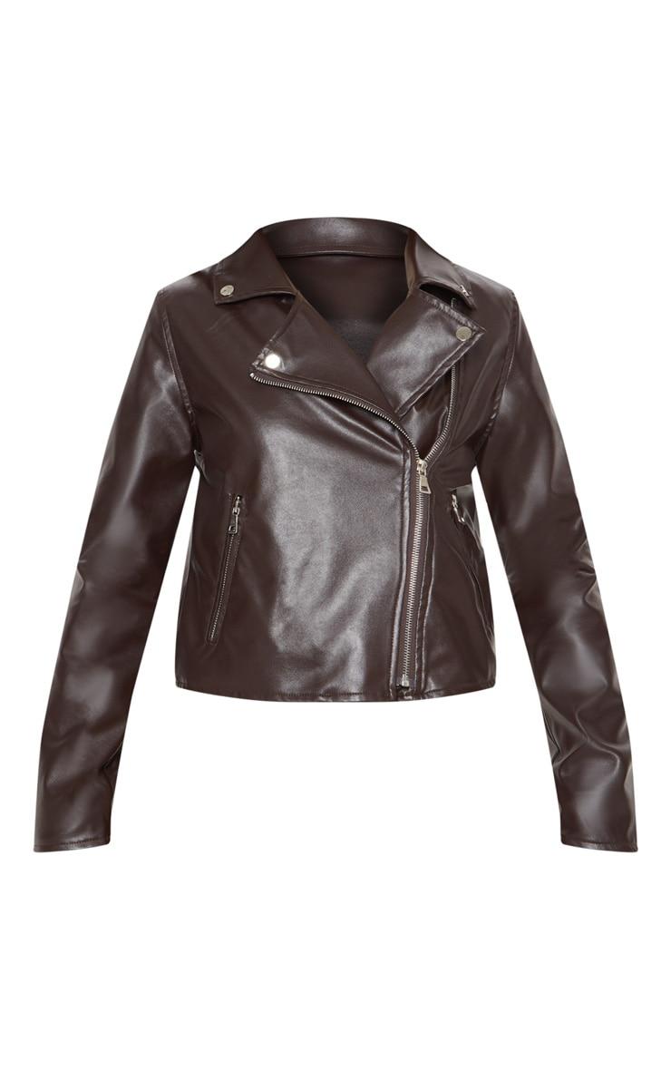 Chocolate Brown PU Biker Jacket  3