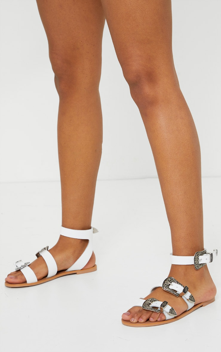 White Western Buckle Leather Sandal 2