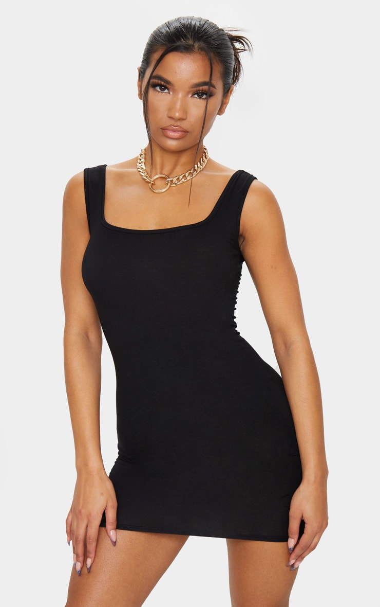 Black Square Neck Bodycon Dress 1