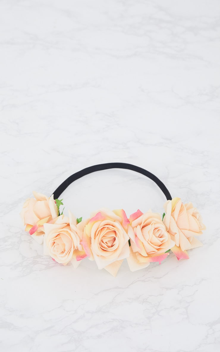 Orange Floral Elasticated Headband 3