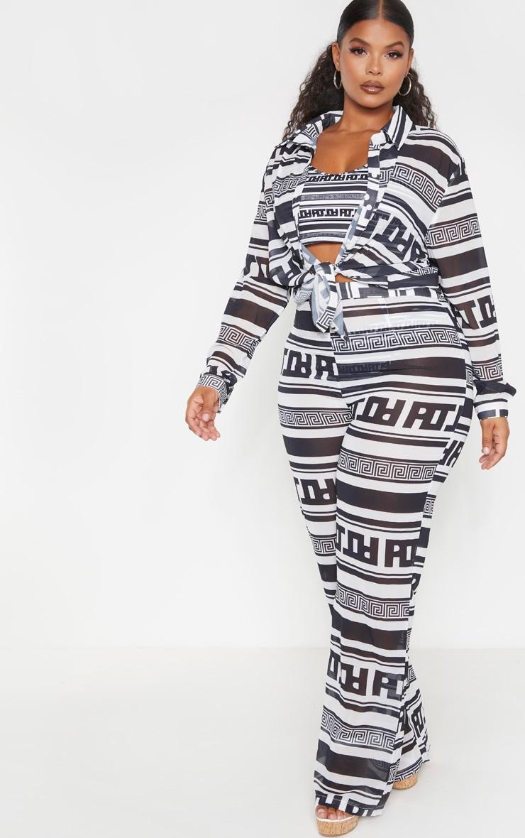 PLT Plus Monochrome Greek Stripe Oversized Beach Shirt 4