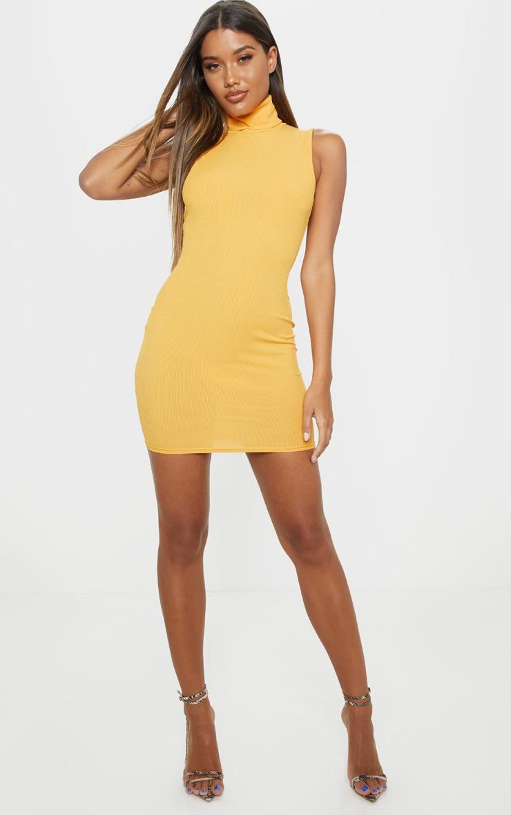 5825c50f53a Shoptagr | Mustard Rib Roll Neck Bodycon Dress by Prettylittlething