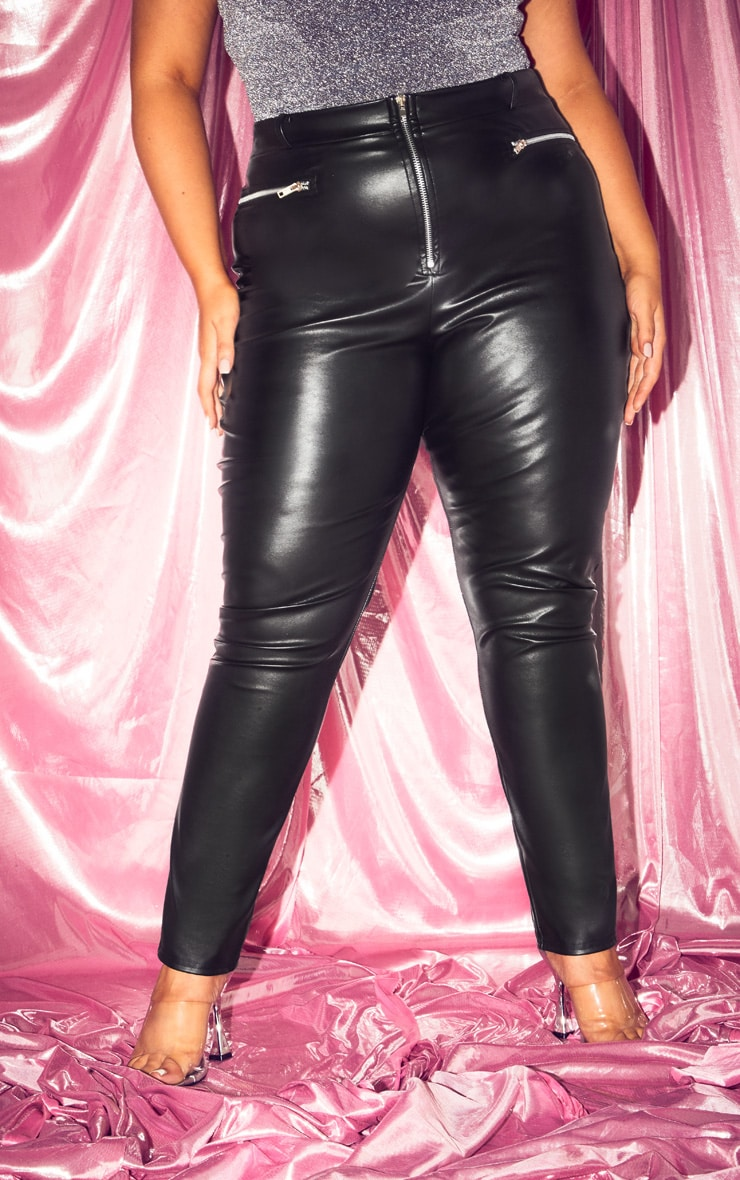 Plus Black PU Zip Detail Trousers 3