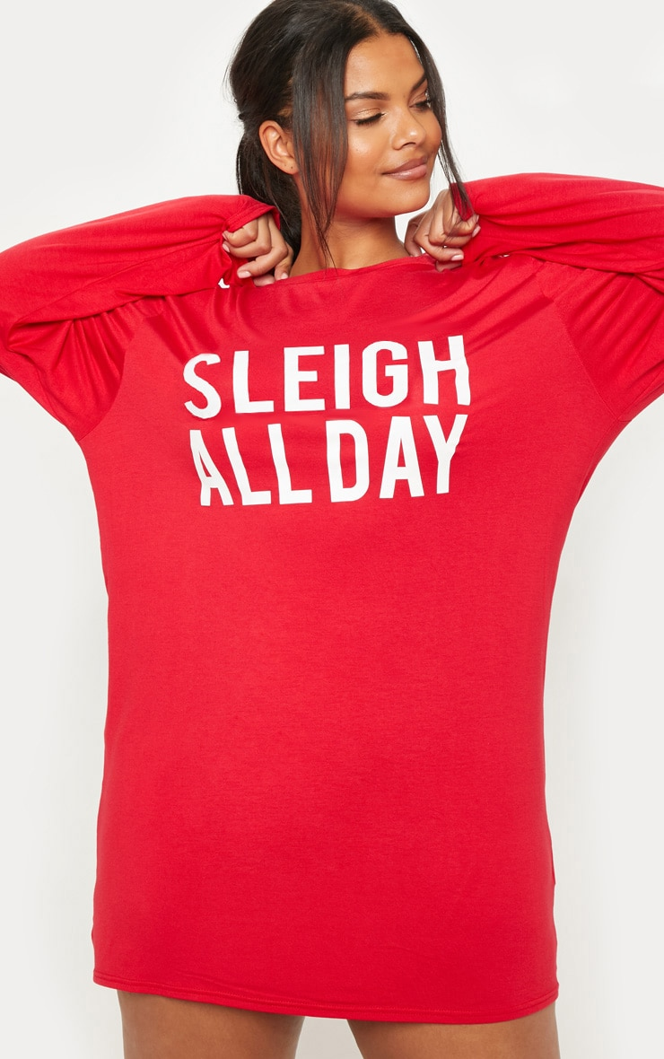 Plus Red 'Sleigh All Day' Nightie 1