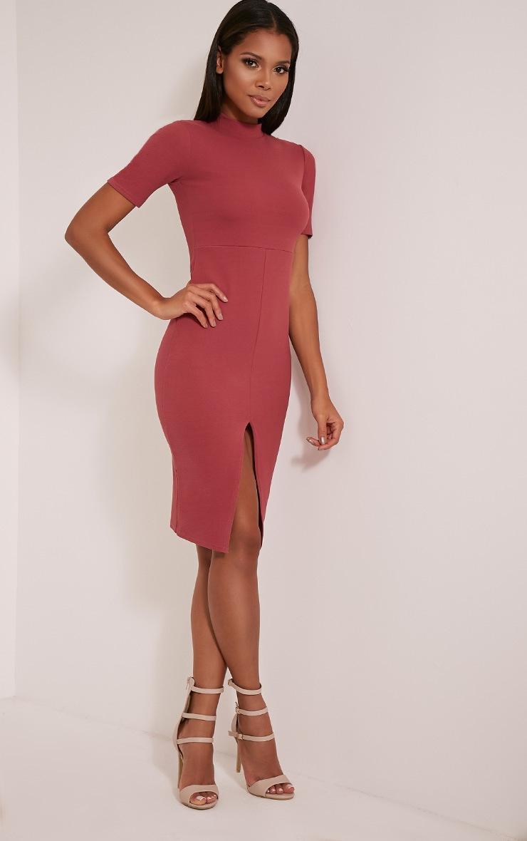 Sana Rose Crepe Split Front Midi Dress 5