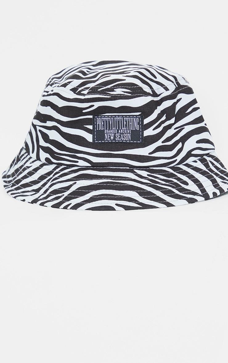 PRETTYLITTETHING Black And White Zebra Bucket Hat 2